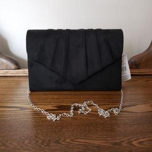 George Evening Bag Suede Pleated Clutch - Black